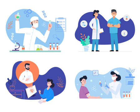 Medical services concept illustrations SET. Doctor and patients