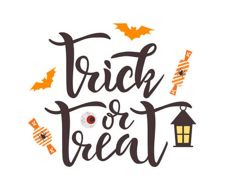 Trick or treat quote. Vector illustration lettering text
