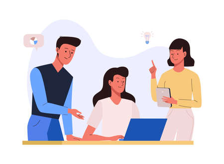 Business team working process concept. Office people Illustration