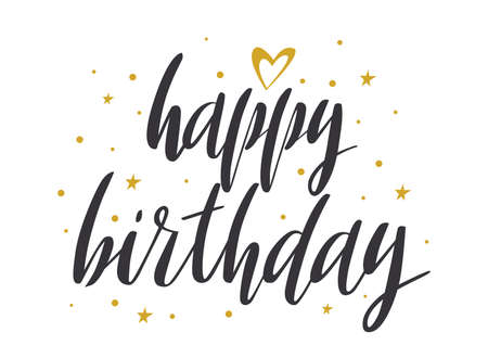 Happy birthday lettering quote with golden stars and heart