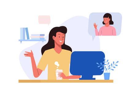 Woman sitting with laptop in a video chat. Online meeting Illustration