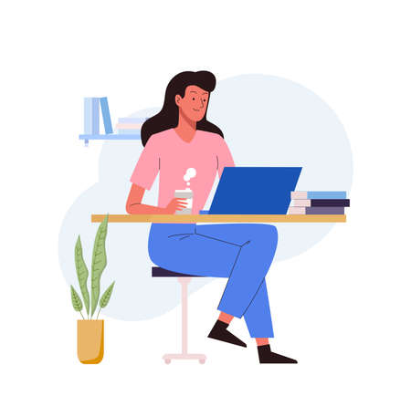 Woman study online at computer. Online education concept