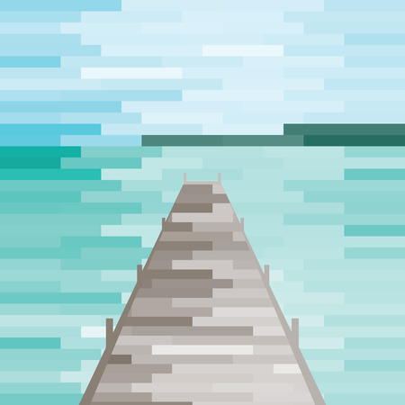 vector illustration  sea landscape with wooden dock with turquoise water and blue sky in pixelated style
