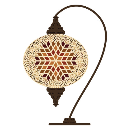 vector illustration of traditional turkish table lamp with beige ornamental design