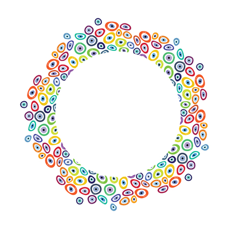 vector illustration  colorful circle design with turkish evil eye boncugu charms in different rainbow colors with a place for text can be used as cards or brochure designs