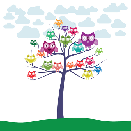 vector illustration of tree with plenty of colorful owls sitting on branches