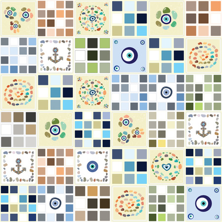 evil eye: vector illustration  tiles pattern with turkish evil eye boncugu charms in neutral colors for backgrounds and wallpapers Illustration