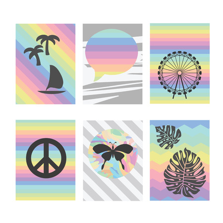 six objects: vector illustration  six card templates for scrapbook or journal with rainbow spectrum striped background and trendy objects like butterfly tropic plam trees and peace symbol Illustration