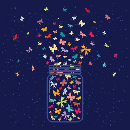 Ilustracja wektora / szkła słoik z dużą ilością motyli wewnątrz na ciemnym tle nieba nocy Ilustracje wektorowe