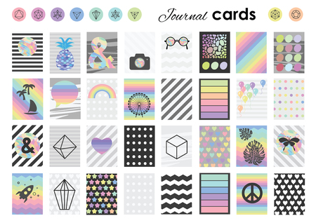 bookmarks: vector illustration  planner stickers tags and bookmarks set in A4 page format  trendy geometric symbols hearts landmarks  and colorful stripes design