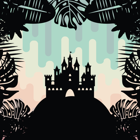 vector illustration  black castle silhouette on colorful dripping background inside tropical leaves frame for wonderland fairy tale designs Illustration
