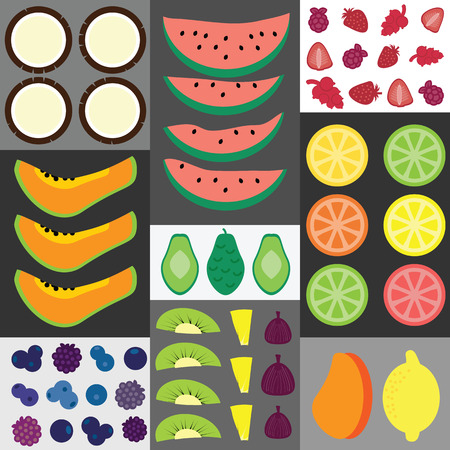 sorted: vector illustration  fruits mosaic design sorted in rows and squares in flat lay geometric design including sliced pineapple coconut and berries