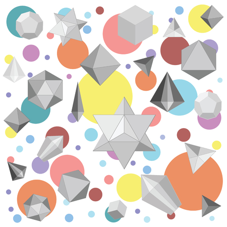 vector illustration  polygonal 3d grey geometrical shapes and colorful bright circles for abstract background designs
