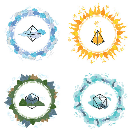 solids: vector illustration of  four main elements fire water earth and air with matching geometrical shapes in circle shapes