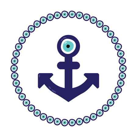 vector illustration  anchor shape with turkish evil eye nazar boncugu charm in the middle and circle frame around  decoration element Illustration