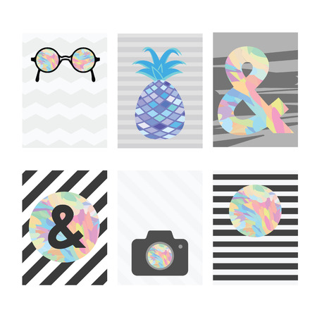 six objects: vector illustration  six card templates for scrapbook or journal with black and white striped background and colorful objects like camera pineapple apmersand symbol