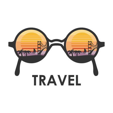 sunglasses reflection: vector illustration  sunglasses with reflection of palms and bridge and beautiful sunset in 80s style for travel enthusiasts Illustration