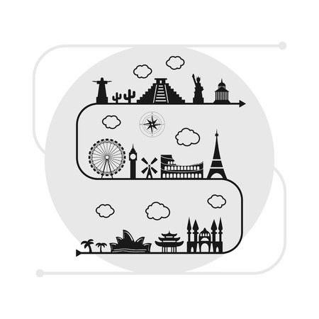 destinations: vector illustration  travel destinations and landmarks on one line in black and white colors for touristic agencies and travel companies Illustration