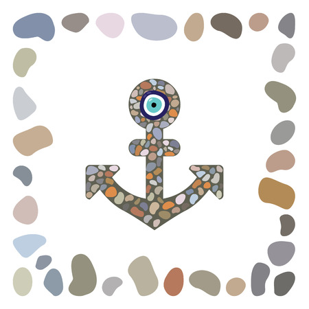charm: vector illustration  sea stones arranged in anchor shape with turkish evil eye nazar boncugu charm in the middle  decoration element