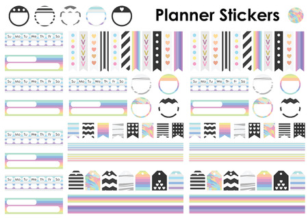 planner: vector illustration  planner stickers tags and bookmarks set in A4 page format  trendy pastel rainbow and holographic stripes design