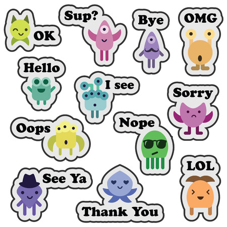 vector illustration  messanger stickers set with monsters and phrases in cartoon flat funny style