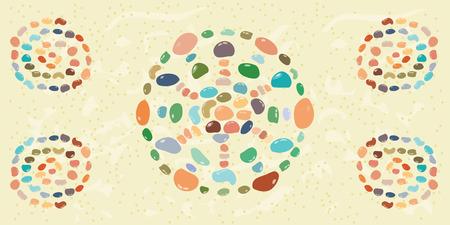 illustrazione vettoriale di pietre colorate in forma del cerchio mandala sulla sabbia con spirali di mosaico in angoli decorazione / banner orizzontale Vettoriali