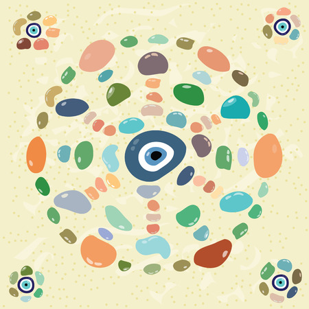 evil eye: vector illustration of colorful stones in mandala circle shape with turkish evil eye nazar boncugu charm in the middle  decoration element Illustration
