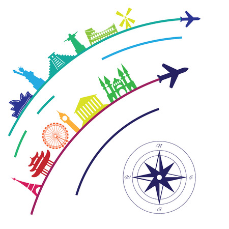 vector illustration  flight destinations and landmarks around the world in rainbow colors for touristic agencies and travel companies