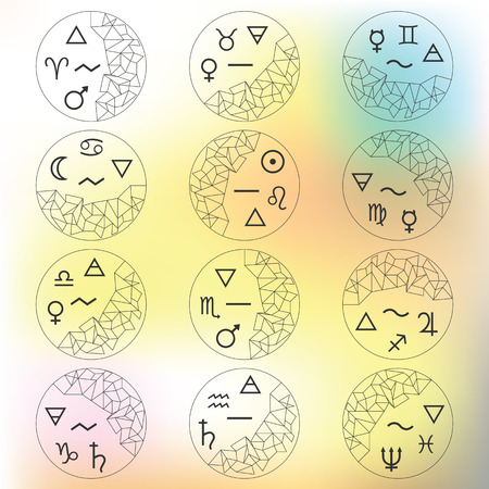 Vector Illustration Twelve Zodiac Signs In Cirlces With Responding