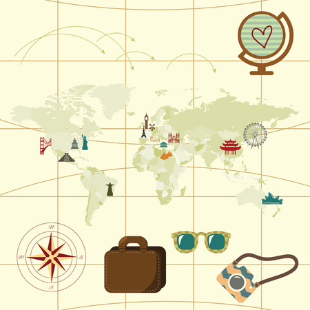 destinations: vector illustration  map with travel destinations and famous landmarks around the world in retro style