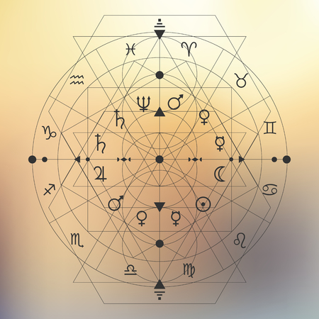 zodiac signs in circle decorated with thin lines triangles in bohemian style on blurry bokeh pastel background / vector illustration
