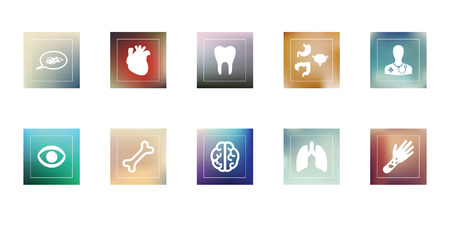 chapter: vector illustration  medical icons set  branches of medicine such as dermatology ophtalmology symbols on different blurry background Illustration