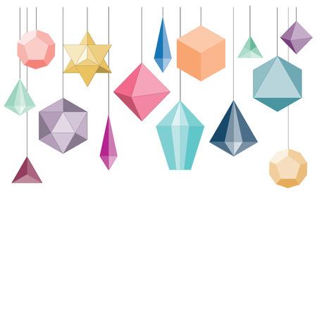 icosahedron: vector illustration  hanging decoration with geometrical shapes Illustration