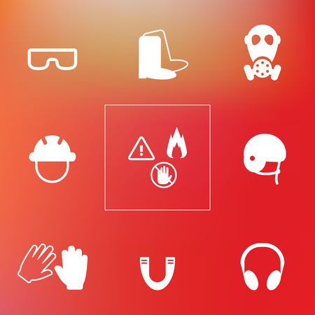 vector illustration of protection items like helmet mask shoes and gloves for safety at work on red blurry background Illustration