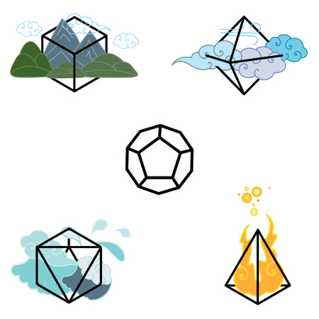 icosahedron: vector illustration of  four main elements fire water earth and air with matching geometrical shapes and cosmic ether fifth element in the middle