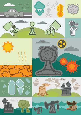 poisoning: vector illustration  ecological problems modular image including air pollution soil poisoning acid rains and global warming Illustration