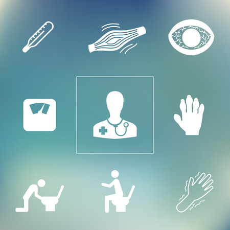 diarrhea illustration: vector illustration  general medical symptoms and health problems icons set on blurry bokeh background Illustration