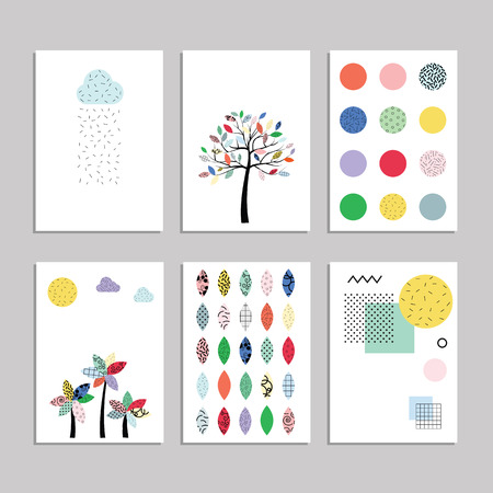eighties: vector illustration  set of pages layouts in eighties geometrical bright style with trees clouds and shapes patterns