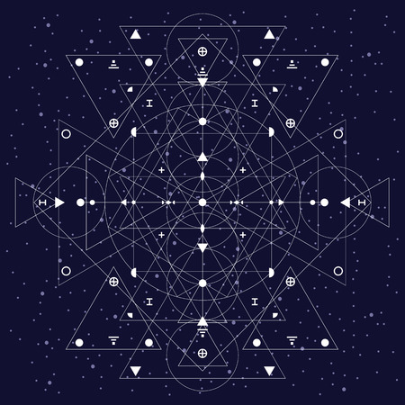 vector illustration / white abstract sacred geometry background with triangles geometrical shapes on dark night sky background