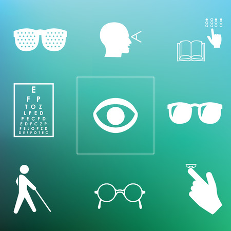 macular: vector illustration  healthy vision icons  eye problems and vision tests with glasses and lenses on blurred background