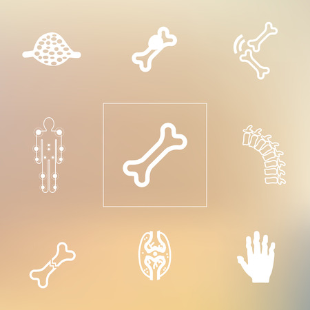 bursitis: vector illustration  medical symptoms and  disorders icons set  joints and bones icons on blurry background