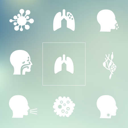 sinusitis: vector illustration  medical symptoms and health problems  disorders icons set  respiratory system problems on bokeh background