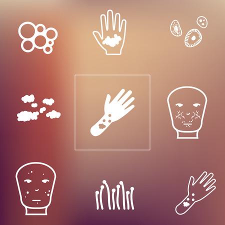 rash: vector illustration  dermatological symptoms  skin problems and disorders icons set on unfocused background Illustration