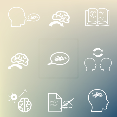 vector illustration / aphasia symptoms / speech and language disorders icons on the blurred background Иллюстрация