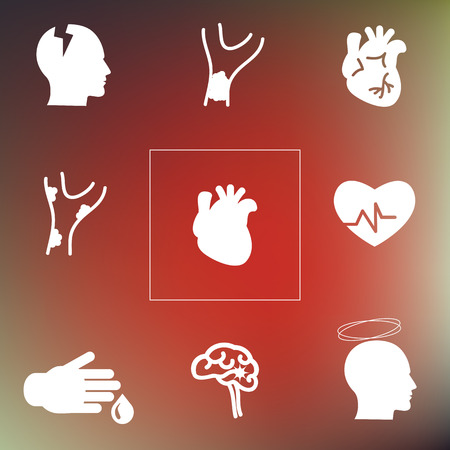 vector illustration  cardiovascular system problems icons set on blurry background  heart attack medical symptoms of disorders Illustration