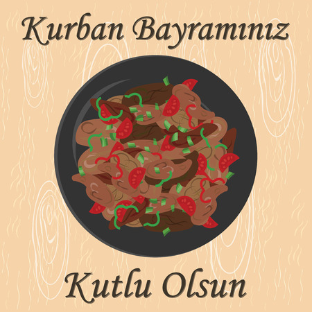 bayram: vector illustration of greeting card for sacrifice feast with traditional meat meal  kavurma and greeting in turkish language which means Have a Happy Kurban Holiday