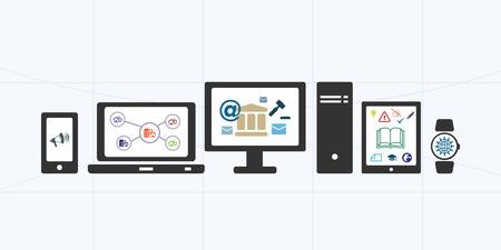 servicios publicos: ilustración vectorial de banner horizontal para los servicios públicos electrónicos y portal de información con diferentes opciones y dispositivos
