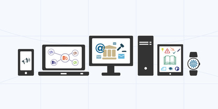 servicios publicos: vector illustration of horizontal banner for electronic public services and information portal with different options and devices Vectores