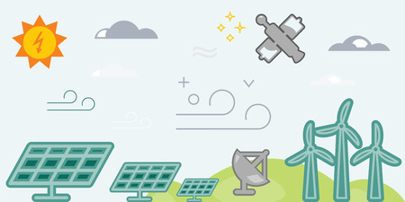 energy sources: vector illustration of horizontal banner for ecological energy sources including sun batteries and wind turbine for power generation and weather forecast tools