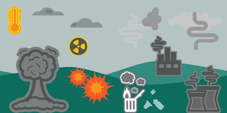 nuclear waste: vector illustration of horizontal banner for ecological problems including air pollution nuclear explosion plastic waste and global warming